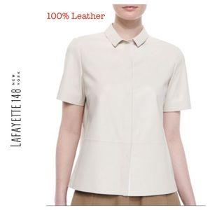 Layfayette 148 Lambskin Leather Shirt.  Size P